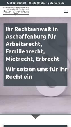 Vorschau der mobilen Webseite www.holzer-goldmann.de, Holzer und Goldmann Rechtsanwälte