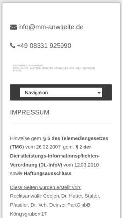 Vorschau der mobilen Webseite www.mm-anwaelte.de, Rechtsanwälte Ceelen, Dr. Hutter, Stalter, Pfaudler, Dr. Veh PartGmbB