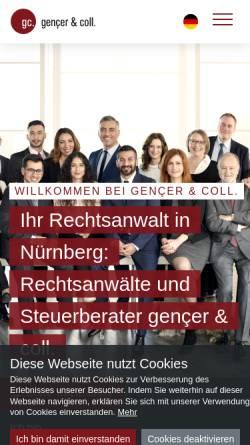 Vorschau der mobilen Webseite gencer-coll.de, gençer & coll. Rechtsanwälte und Steuerberater