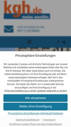 Vorschau der mobilen Webseite www.kgh.de, Rechtsanwaltskanzlei Kreuzer, Goßler und Horlamus