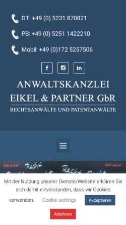 Vorschau der mobilen Webseite www.eikel-partner.de, Eikel & Partner GbR