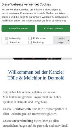 Vorschau der mobilen Webseite www.kanzleitoelle.de, Tölle und Tölle, Rechtsanwaltskanzlei