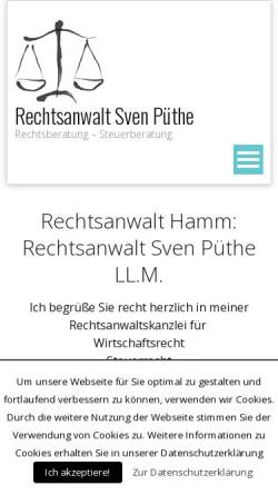 Vorschau der mobilen Webseite www.rechtsanwalt-hamm.info, Sven Püthe LL.M., Rechtsanwalt