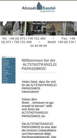 Vorschau der mobilen Webseite www.kanzlei-papassimos.de, Altstadtkanzlei Papassimos