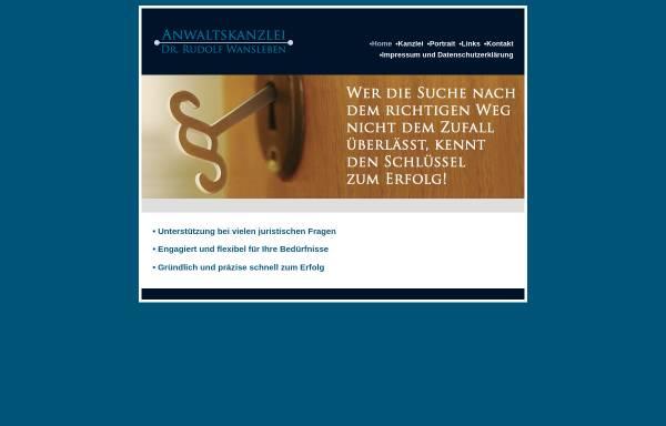 Vorschau von www.wansleben.de, Anwaltskanzlei Dr. Rudolf Wansleben