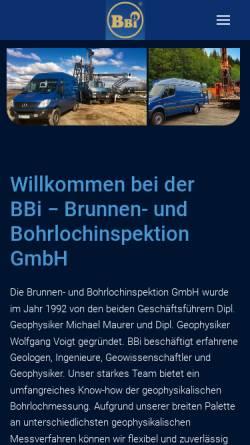 Vorschau der mobilen Webseite www.bbi.de, Brunnen- und Bohrlochinspektion GmbH (BBI)