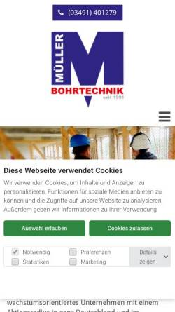 Vorschau der mobilen Webseite www.mueller-bohrtechnik.de, Müller Bohrtechnik GmbH