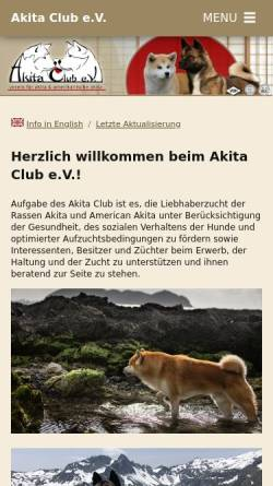 Vorschau der mobilen Webseite www.akita.de, Akita Club e.V.