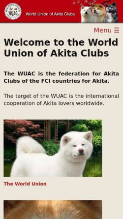 Vorschau der mobilen Webseite www.wuac.info, World Union of the Akita Clubs