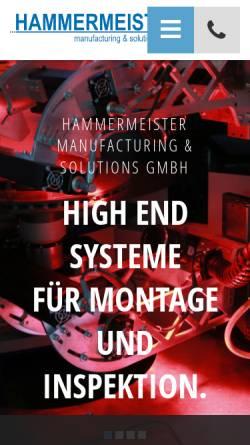 Vorschau der mobilen Webseite www.hammermeister.biz, Hammermeister Sondermaschinenentwicklung GmbH