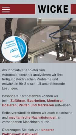 Vorschau der mobilen Webseite www.wicke.net, Hilmar Wicke - Industrieberatung