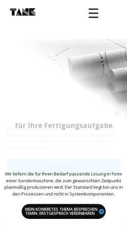 Vorschau der mobilen Webseite www.tank-gmbh.de, Ingenieurbüro Uwe Tank GmbH