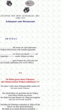 Vorschau der mobilen Webseite www.schnauzer-vom-wesenswart.de, Mittelschnauzer vom Wesenswart
