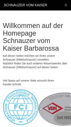 Vorschau der mobilen Webseite www.hubert-schmitt.de, Schnauzerzwinger vom Kaiser Barbarossa