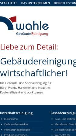 Vorschau der mobilen Webseite www.wahle-dienstleistungsgruppe.de, Glas- u. Gebäudereinigung Wahle GmbH