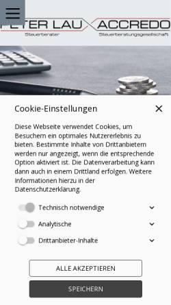 Vorschau der mobilen Webseite www.steuer1.de, Accredo Beratung und Betreuung GmbH; Peter Lau, Steuerberater