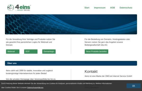 Vorschau von www.4eins.de, OMCnet Internet Service GmbH - Abteilung 4eins