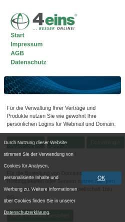 Vorschau der mobilen Webseite www.4eins.de, OMCnet Internet Service GmbH - Abteilung 4eins