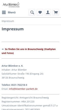 Vorschau der mobilen Webseite www.bloemker-parkett.de, Artur Blömker Naturbauhaus