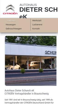 Vorschau der mobilen Webseite www.autohaus-schunck.de, Autohaus Schunk Braunschweig