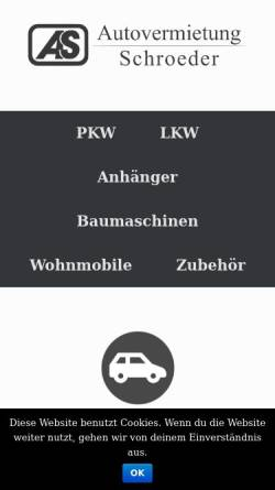 Vorschau der mobilen Webseite www.autovermietung-schroeder.de, Autovermietung Schroeder