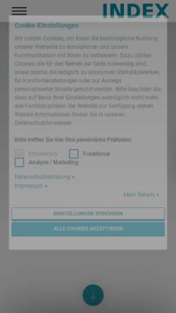 Vorschau der mobilen Webseite www.index-werke.de, INDEX-Werke GmbH & Co. KG Hahn & Tessky