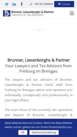 Vorschau der mobilen Webseite parlex.de, Anwaltskanzlei Brunner, Liesenborghs & Partner GbR