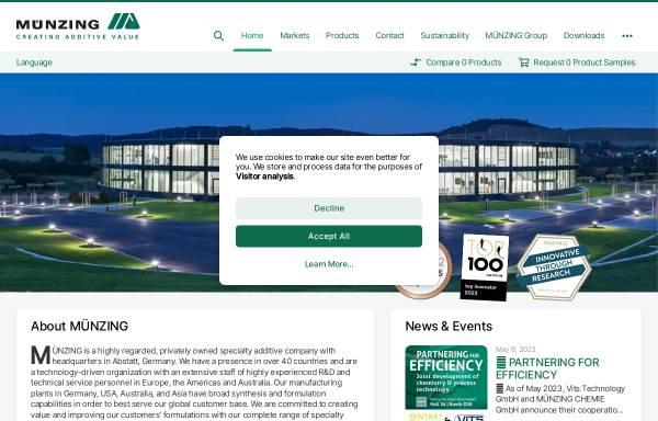 Vorschau von www.munzing.com, Muenzing Chemie GmbH