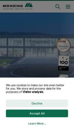 Vorschau der mobilen Webseite www.munzing.com, Muenzing Chemie GmbH