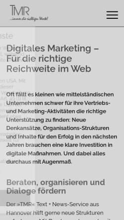 Vorschau der mobilen Webseite www.profi-news.de, »TMR« Text + News-Service