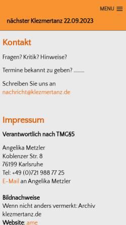Vorschau der mobilen Webseite www.tanzeninkarlsruhe.de, Tanzen in Karlsruhe
