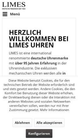 Vorschau der mobilen Webseite www.limes-uhren.de, Limes Uhren