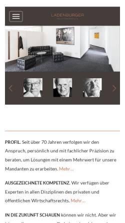 Vorschau der mobilen Webseite www.ladenburger.com, Ladenburger, Neifeind, Schmücker & Homann