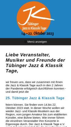 Vorschau der mobilen Webseite www.jazzklassiktage.de, Tübinger Jazz & Klassik Tage