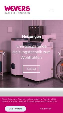 Vorschau der mobilen Webseite www.wevers-baeder.de, Walter Wevers GmbH
