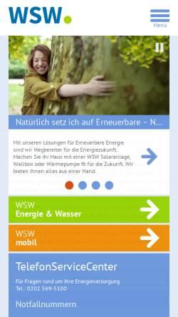 Vorschau der mobilen Webseite www.wsw-online.de, WSW Wuppertaler Stadtwerke GmbH