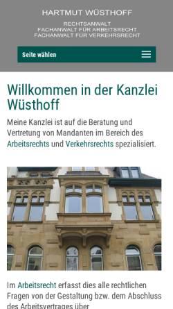 Vorschau der mobilen Webseite kanzlei-wuesthoff.de, Kanzlei Hartmut Wüsthoff