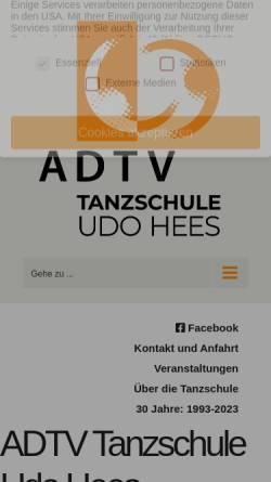 Vorschau der mobilen Webseite www.tanzschuleudohees.de, Tanzschule Udo Hees