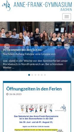 Vorschau der mobilen Webseite www.anne-frank-gymnasium.de, Anne-Frank-Gymnasium (AFG)