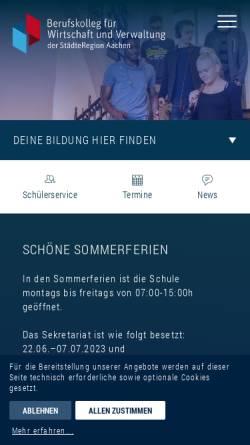 Vorschau der mobilen Webseite bwv-aachen.de, Berufskolleg für Wirtschaft und Verwaltung