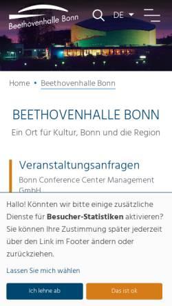Vorschau der mobilen Webseite www.beethovenhalle.de, Beethovenhalle Bonn