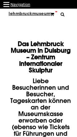 Vorschau der mobilen Webseite www.lehmbruckmuseum.de, Stiftung Wilhelm Lehmbruck Museum