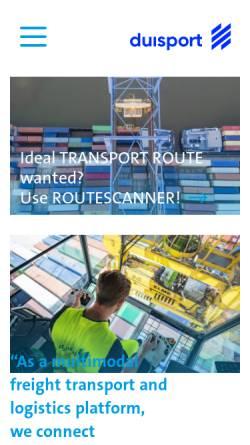 Vorschau der mobilen Webseite www.duisport.de, Duisburger Hafen AG - Duisport