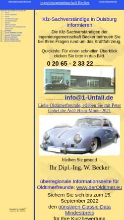 Vorschau der mobilen Webseite www.kfz-gutachter-duisburg.de, Ingenieurgemeinschaft Becker