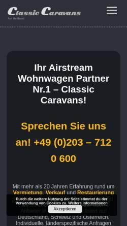 Vorschau der mobilen Webseite www.eventmobile.de, Classic Caravans