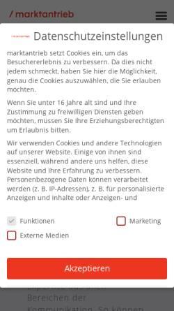 Vorschau der mobilen Webseite www.marktantrieb.de, Marktantrieb GmbH