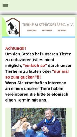 Vorschau der mobilen Webseite www.tierheim-ennepetal.de, Tierheim Strückerberg Ennepetal