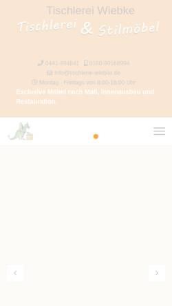 Vorschau der mobilen Webseite tischlerei-wiebke.de, Tischlerei Rudi Wiebke
