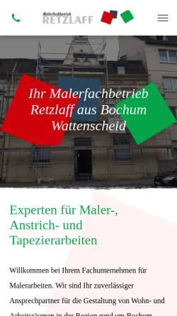 Vorschau der mobilen Webseite www.retzlaff-wat.de, Malerfachbetrieb, Harald Retzlaff