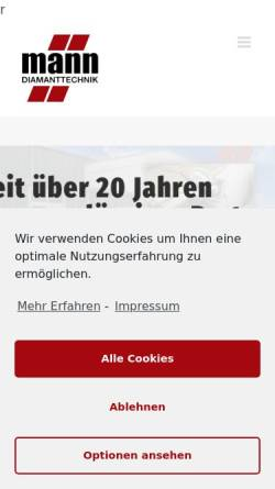 Vorschau der mobilen Webseite mann-diamanttechnik.de, Mann Diamanttechnik